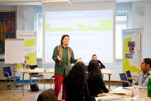 Anke Stahl at the postgraduate course networking event in Bonn Photo: Daniela Schmitter