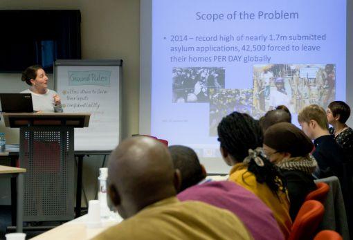 In Workshops und Arbeitsgruppen untersuchten die Teilnehmer die Gründe für Zwangsmigration © Doreen Göller
